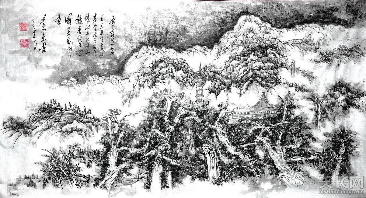 黄东雷水墨画《雪夜灵岩》.JPG